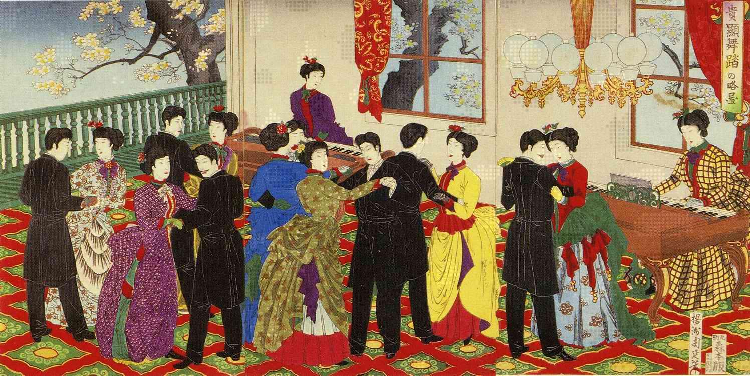 Figure 4. Kiken butō no ryakuzu 貴顕舞踏の略図 by Yōshū Chikanobu 揚州周延, 1888.