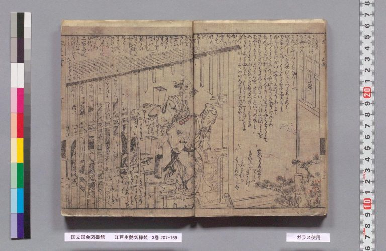 Figure 15. Santō Kyōden's 山東京伝. Edo umare uwaki no kabayaki 江戸生艶気蒲焼 (Playboy, Roasted à la Edo). Tsutaya Jūzaburō 蔦屋重三郎, 1785, fols. 24–25. National Diet Library.